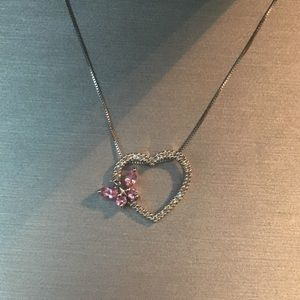 Zales Pink Sapphire Butterfly Heart in White Gold